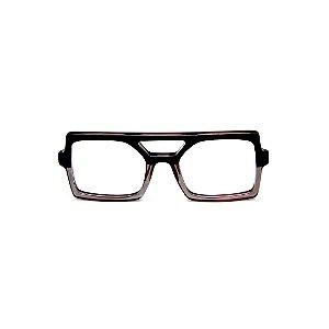 Armação para óculos de Grau Gustavo Eyewear G114 6. Cor: Preto e fumê translúcido. Haste preta.