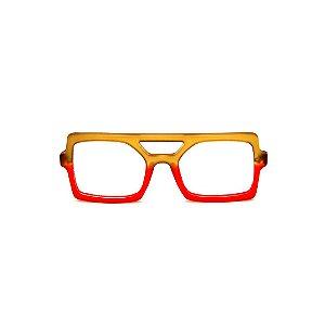 Armação para óculos de Grau Gustavo Eyewear G114 8. Cor: Caramelo e vermelho translúcido. Haste animal print.