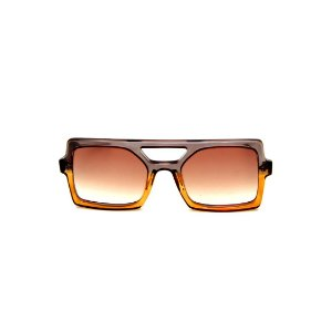 Óculos de Sol Gustavo Eyewear G114 12. Cor: Fumê e caramelo translúcido. Haste animal print. Lentes marrom.