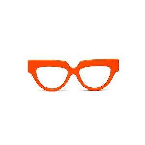 Armação para óculos de Grau Gustavo Eyewear G40 12. Cor: Laranja opaco. Haste animal print.