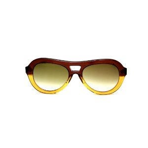 Óculos de Sol Gustavo Eyewear G113 4. Cor: Marrom e caramelo translúcido. Haste preta. Lentes verdes.