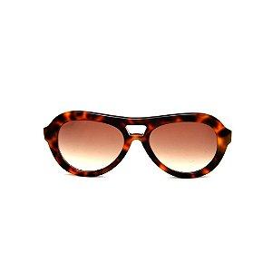 Óculos de Sol Gustavo Eyewear G113 5. Cor: Animal print. Haste animal print. Lentes marrom.