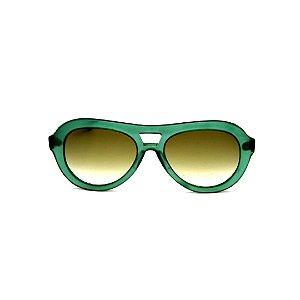 Óculos de Sol Gustavo Eyewear G113 6. Cor: Verde fosco translúcido. Haste preta. Lentes verdes.