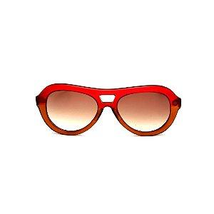 Óculos de Sol Gustavo Eyewear G113 9. Cor: Vermelho e marrom fosco translúcido. Haste animal print. Lentes marrom.