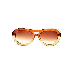 Óculos de Sol Gustavo Eyewear G113 10. Cor: Marrom e âmbar fosco translúcido. Haste animal print. Lentes marrom.