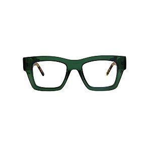 Armação para óculos de Grau Gustavo Eyewear G64 20. Cor: Verde translúcido. Haste animal print.