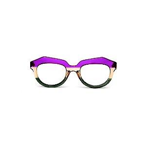 Armação para óculos de Grau Gustavo Eyewear G37 2. Cor: Violeta, âmbar e verde translúcido. Haste animal print.