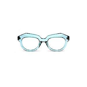 Armação para óculos de Grau Gustavo Eyewear G37 3. Cor: Acqua translúcido. Haste animal print.