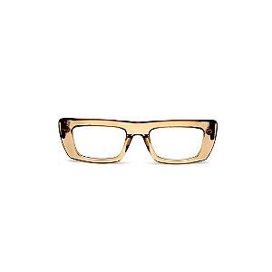 Armação para óculos de Grau Gustavo Eyewear G80 1. Cor: Âmbar translúcido. Haste animal print.