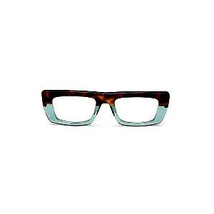 Armação para óculos de Grau Gustavo Eyewear G80 6. Cor: Animal print e acqua translúcido. Haste animal print.