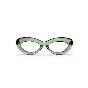 Armação para óculos de Grau Gustavo Eyewear G36 2. Cor: Acqua translúcido. Haste preta.