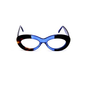 Armação para óculos de Grau Gustavo Eyewear G36 4. Cor: Animal print, azul translúcido e preto. Haste azul.