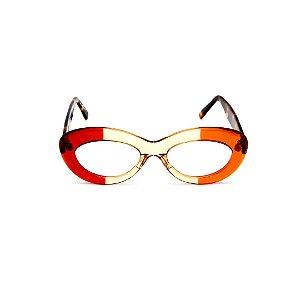 Armação para óculos de Grau Gustavo Eyewear G36 5. Cor: Vermelho, âmbar e laranja translúcido. Haste animal print.