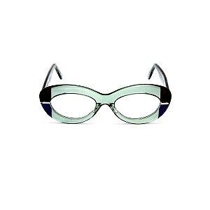 Armação para óculos de Grau Gustavo Eyewear G36 6. Cor: Acqua translúcido, azul e preto. Haste acqua.