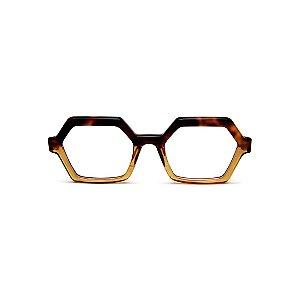 Armação para óculos de Grau Gustavo Eyewear G123 3. Cor: Animal print e  translúcido. Haste animal print.