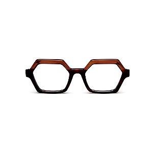 Armação para óculos de Grau Gustavo Eyewear G123 4. Cor: Marrom translúcido e preto. Haste animal print.