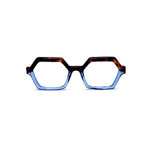Armação para óculos de Grau Gustavo Eyewear G123 7. Cor: Animal print e azul translúcido. Haste animal print.