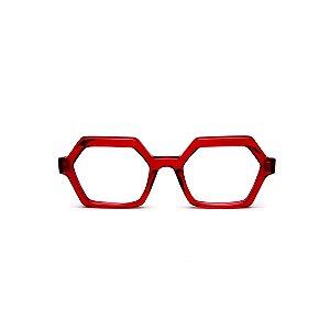 Armação para óculos de Grau Gustavo Eyewear G123 9. Cor: Vermelho translúcido. Haste animal print.