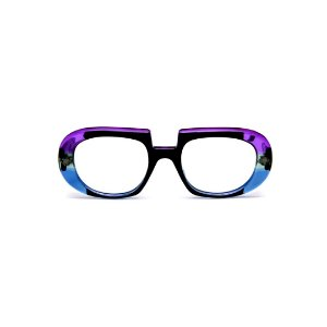 Armação para óculos de Grau Gustavo Eyewear G116 2. Cor: Preto, violeta e azul translúcido. Haste animal print.