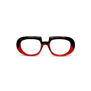 Armação para óculos de Grau Gustavo Eyewear G116 3. Cor: Animal print e vermelho translúcido. Haste animal print.
