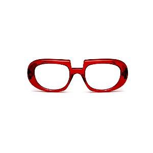 Armação para óculos de Grau Gustavo Eyewear G116 5. Cor: Vermelho translúcido. Haste animal print.