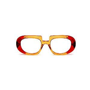 Armação para óculos de Grau Gustavo Eyewear G116 4. Cor: Laranja e vermelho translúcido. Haste vermelha.