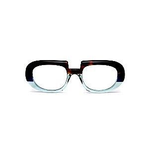 Armação para óculos de Grau Gustavo Eyewear G116 8. Cor: Animal print e acqua translúcido. Haste animal print.