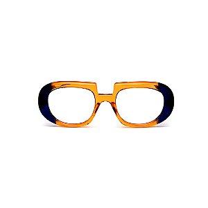 Armação para óculos de Grau Gustavo Eyewear G116 11. Cor: Laranja e azul translúcido. Haste azul.