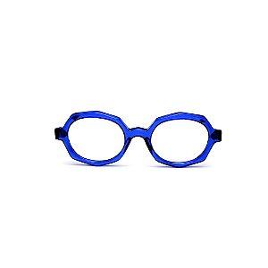 Armação para óculos de Grau Gustavo Eyewear G121 2. Cor: Azul translúcido. Haste animal print.