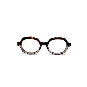 Armação para óculos de Grau Gustavo Eyewear G121 4. Cor: Animal print e fumê translúcido. Haste animal print.