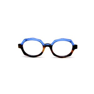 Armação para óculos de Grau Gustavo Eyewear G121 5. Cor: Animal print e azul translúcido. Haste azul.