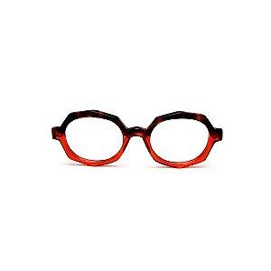 Armação para óculos de Grau Gustavo Eyewear G121 6. Cor: Animal print e vermelho translúcido. Haste vermelha.