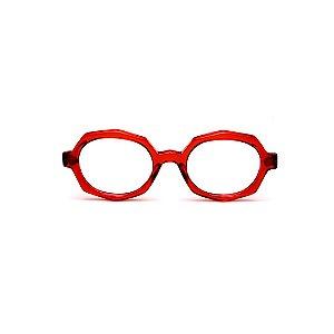Armação para óculos de Grau Gustavo Eyewear G121 10. Cor: Vermelho translúcido. Haste animal print.