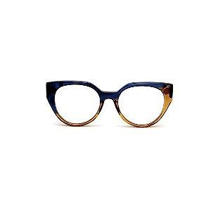 Armação para óculos de Grau Gustavo Eyewear G117 3. Cor: Azul e âmbar translúcido. Haste animal print.
