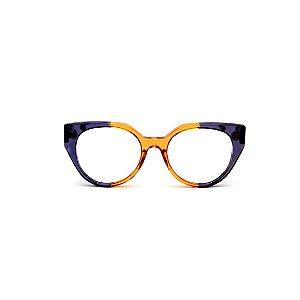 Armação para óculos de Grau Gustavo Eyewear G117 4. Cor: Azul e caramelo translúcido. Haste azul.