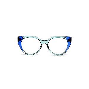Armação para óculos de Grau Gustavo Eyewear G117 9. Cor: Azul e acqua translúcido. Haste azul.
