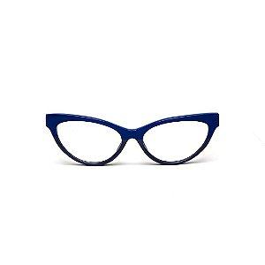 Armação para óculos de Grau Gustavo Eyewear G129 3. Cor: Azul e cinza opaco. Haste preta.