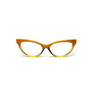 Armação para óculos de Grau Gustavo Eyewear G129 4. Cor: Amarelo opaco e translúcido. Haste animal print.
