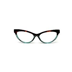 Armação para óculos de Grau Gustavo Eyewear G129 7. Cor: Animal print e azul translúcido. Haste animal print.