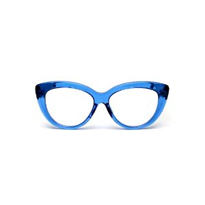 Armação para óculos de Grau Gustavo Eyewear G107 3. Cor: Azul translúcido. Haste preta.
