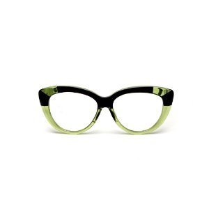 Armação para óculos de Grau Gustavo Eyewear G107 7. Cor: Verde translúcido e preto. Haste preta.