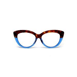 Armação para óculos de Grau Gustavo Eyewear G107 9. Cor: Animal print e azul translúcido. Haste azul.