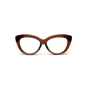 Armação para óculos de Grau Gustavo Eyewear G107 10. Cor: Âmbar translúcido. Haste animal print.