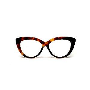 Armação para óculos de Grau Gustavo Eyewear G107 11. Cor: Animal print e preto. Haste preta.