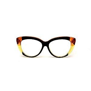 Armação para óculos de Grau Gustavo Eyewear G107 12. Cor: Preto, laranja e amarelo translúcido. Haste laranja.