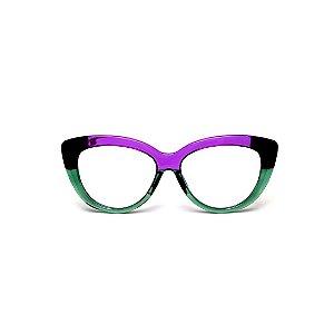 Armação para óculos de Grau Gustavo Eyewear G107 13. Cor: Violeta, verde translúcido e preto. Haste violeta.