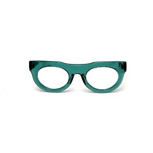 Armação para óculos de Grau Gustavo Eyewear G120 7. Cor: Verde translúcido. Haste animal print.