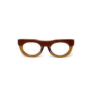 Armação para óculos de Grau Gustavo Eyewear G120 10. Cor: Caramelo opaco e âmbar translúcido. Haste animal print.