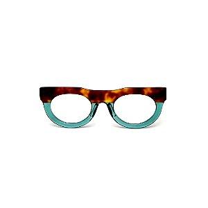 Armação para óculos de Grau Gustavo Eyewear G120 11. Cor: animal print e acqua translúcido. Haste animal print.