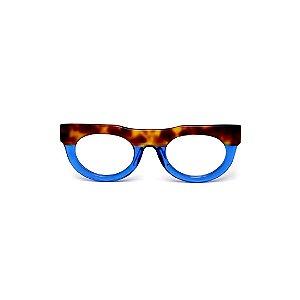 Armação para óculos de Grau Gustavo Eyewear G120 12. Cor: Animal print e azul translúcido. Haste animal print.